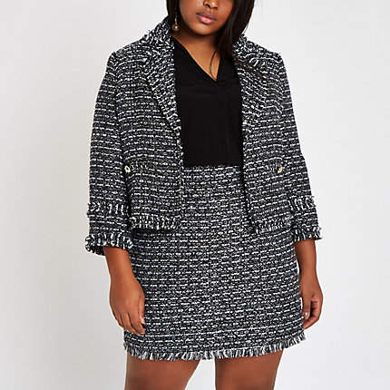 Womens Plus Navy boucle jacket