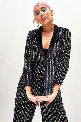 12d90fdba9cc Jaded London Womens   Sequin Stripe Velvet Suit Jacket By Black