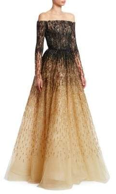 Pamella Roland Sequin& Crystal Embroidered Ombre Ballgown