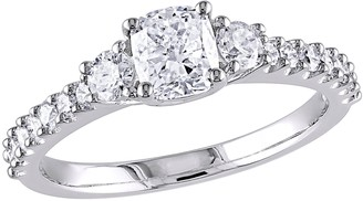 Affinity Diamond Jewelry Affinity 14K Gold 1.20 cttw Cushion Diamond 3-Stone Ring