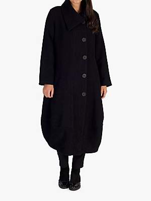 Chesca Heavy Crinkle Button Coat, Black