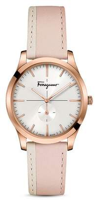 Salvatore Ferragamo Slim Formal Pink Strap Watch, 35mm