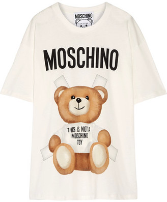Moschino - Oversized Printed Cotton-jersey T-shirt - Off-white $225 thestylecure.com