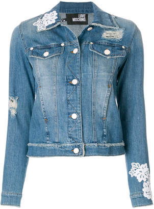 Love Moschino floral pattern distressed jacket