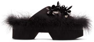Simone Rocha Black Satin Feather Slides
