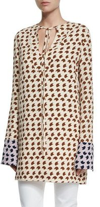 Derek Lam Long-Sleeve Crescent-Print Tunic, Shell/Root/Lavender $1,595 thestylecure.com