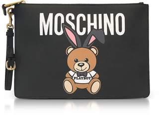 Moschino Teddy Playboy Print Saffiano Eco Leather Oversized Clutch