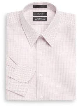 Saks Fifth Avenue BLACK Slim-Fit Grid Two-Ply Cotton Dress Shirt