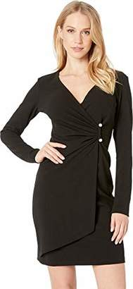 a772a4198bda Bebe Women's Long Sleeve Gathered Dress with A Pearl BAR Detail Trim