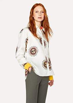 Paul Smith Women's Off-White 'Sun' Silk Shirt With Contrasting Cuffs