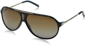 Carrera Hot/P/S Polarized Aviator Sunglasses, Havana Blue and Gold Frame/Brown Shiny Polarized Lens