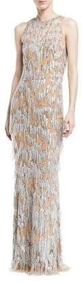 Murad Zuhair Sleeveless Fringe Beaded Straight Evening Gown