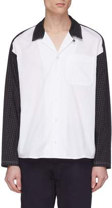 GOETZE 'Frans' colourblock pinstripe panel windowpane check shirt