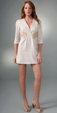 Karta Jeweled V Neck Dress