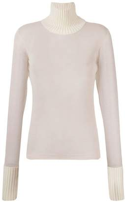 Maison Margiela ribbed trim sheer top