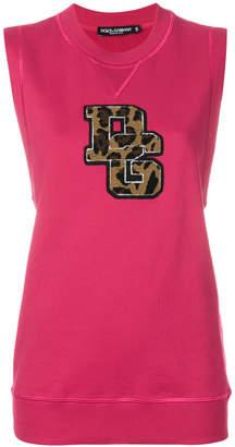 Dolce & Gabbana logo patch sleeveless sweatshirt
