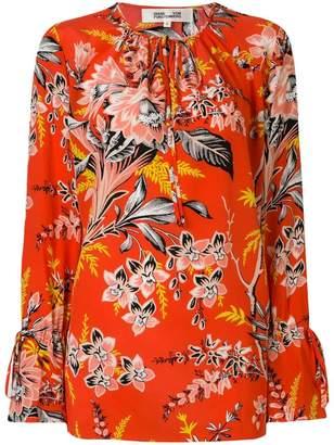 Diane von Furstenberg tie neck floral printed blouse