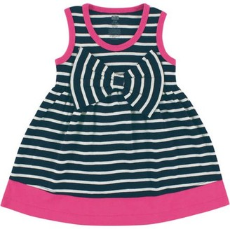 Hudson Baby Newborn Baby Girls Dress w/ Big Bow - Navy Stripe