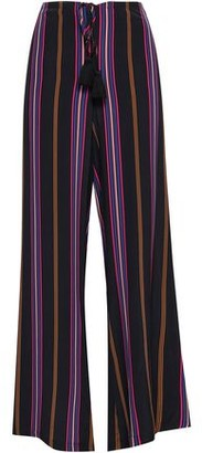 Figue Simone Tasseled Striped Silk Wide-leg Pants
