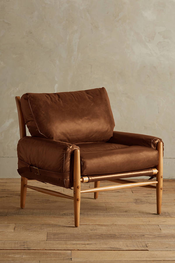 Anthropologie Anthropologie Premium Leather Rhys Ottoman