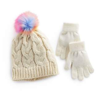 So Girls 4-16 SO Metallic Cable Knit Hat with Rainbow Faux-Fur Pom-Pom Top & Gloves Set
