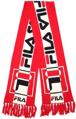 Logo Intarsia Cotton Knit Scarf