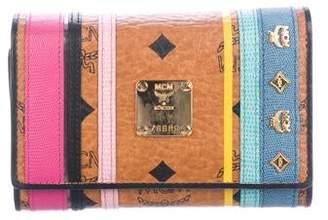 MCM Embossed Leather-Trimmed Visetos Wallet