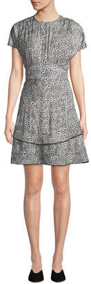 Derek Lam 10 Crosby Floral-Print Silk Short-Sleeve Dress
