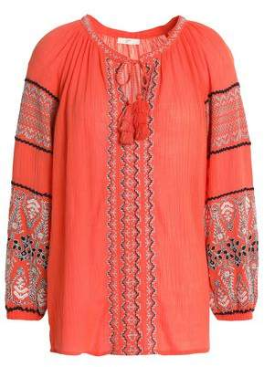 Joie (ジョア) - Joie Embroidered Crinkled Cotton-Gauze Blouse