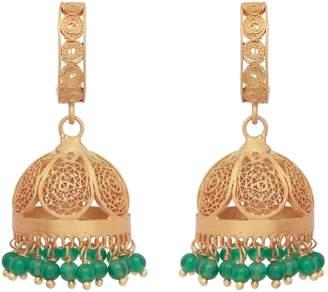 Carousel Jewels - Gold & Green Onyx Chandelier Statement Earrings