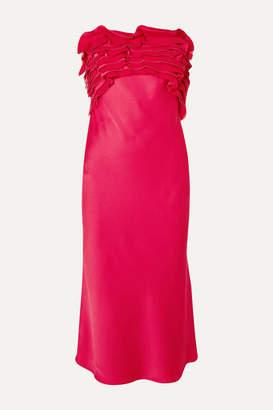 Jason Wu Collection - Strapless Ruffled Satin-crepe Midi Dress - Bright pink