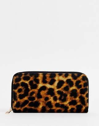 New Look velvet large purse in leopard print