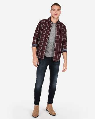 Express Slim Plaid Soft Wash Shirt
