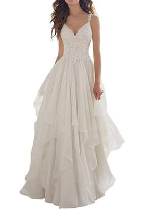 XYHDTQ Women's Illusion Lace V Neck Wedding Dress Chiffon Beach Wedding Gown -US