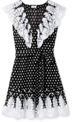 Miguelina Payton Lace-trimmed Polka-dot Cotton-voile Mini Dress - Black