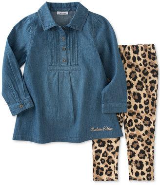 Calvin Klein 2-Pc. Denim Tunic & Leggings Set, Baby Girls (0-24 months) $50 thestylecure.com