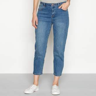 Noisy May Blue Mid Wash Cotton Blend 'Liv' Regular Fit Straight Leg Jeans