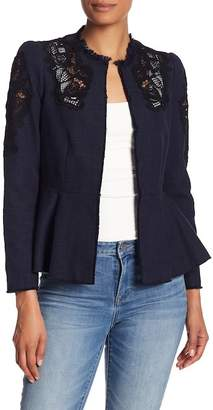 Rebecca Taylor Slub Suiting Lace Insert Jacket