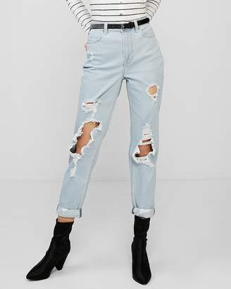 Express High Waisted Ripped Rolled-Hem Original Girlfriend Jeans