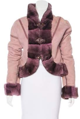 Giuliana Teso Fur-Trimmed Suede Jacket Pink Fur-Trimmed Suede Jacket