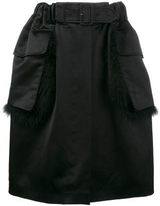 Simone Rocha fur trimmed knee-length skirt