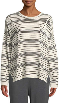 Eileen Fisher Long-Sleeve Striped Organic Cotton Sweater