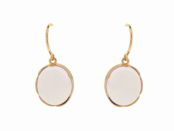 Irene Neuwirth Oval Rose of France Earrings in Rose Gold