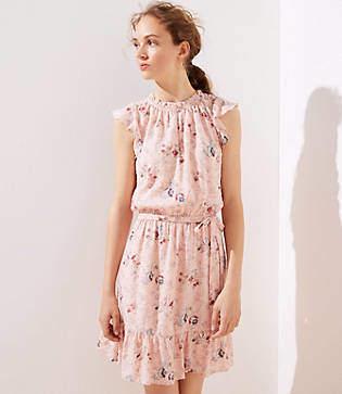 LOFT Petite Floral Clip Dot Flounce Dress