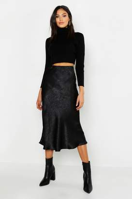boohoo Tall Bias Cut Satin Wrap Midi Skirt