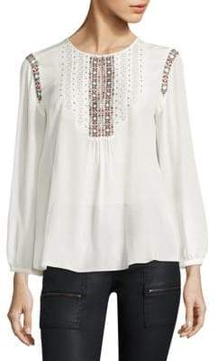 Joie Clema Embroidered Silk Blouse