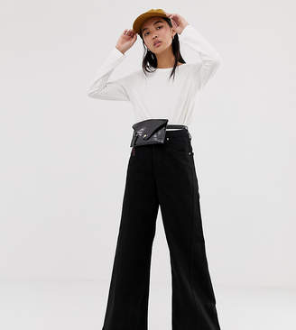 Weekday beat super wide leg jeans in tuned black