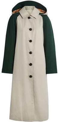 Burberry Detachable Hood Wool and Cotton Gabardine Car Coat