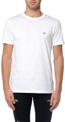 Christian Dior T-shirt In White Cotton With Black Bee Embroidery