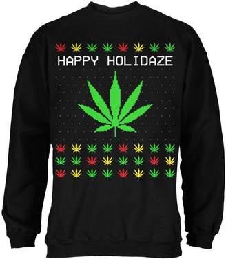 Old Glory Pot Leaf Rasta Happy Holidaze Holidays Ugly Christmas Sweater Mens Sweatshirt LG